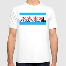 New Chicago Flag White Mens Fitted Tee SMALL