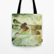 Tote Bag featuring Dragonfly by SpaceFrogDesigns