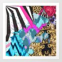 Fashion | Chic aztec pink teal zebra stripes leopard pattern Art Print