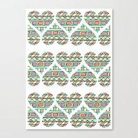 Aztec Hearts Canvas Print