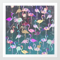 After Dark Flamingo Party  Art Print