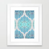 Through Ocean & Sky - turquoise & blue Moroccan pattern Framed Art Print