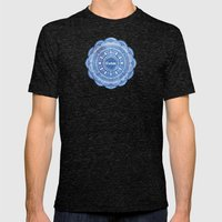 Calming Serenity Blue Mandala Mens Fitted Tee Tri-Black SMALL