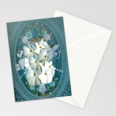 Fabulous Teal White Flowers Stained Glass Stationery Cards