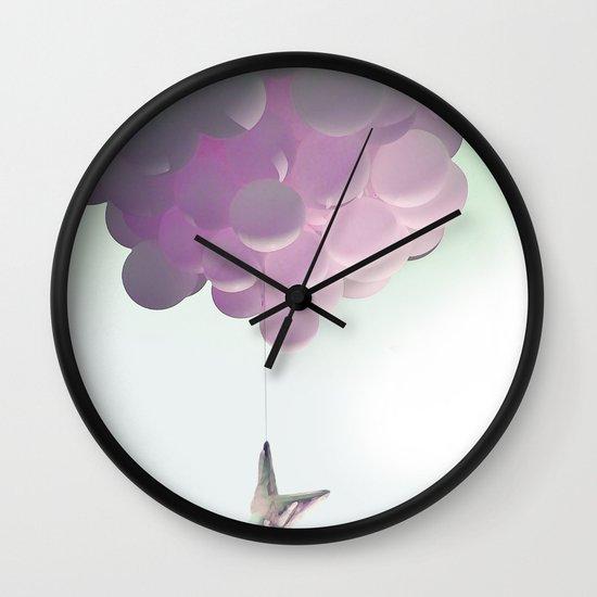 by a thread_ ballon girl Wall Clock