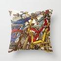 Bike Mess Throw Pillow