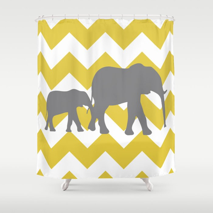Chevron Elephants (yellow and grey) Shower Curtain by Gathered Nest ...