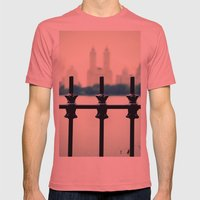 NYC Central Park Two Towers, New York City, Manhattan Mens Fitted Tee Pomegranate SMALL