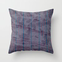 Red stripes on blue grungy textured background Throw Pillow