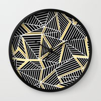 Ab Lines 2 Gold Wall Clock