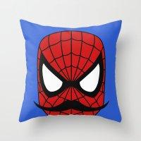 Spider Stache Throw Pillow