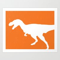 T-rex Orange Dinosaur Art Print
