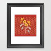 Flowers Red Pattern Framed Art Print