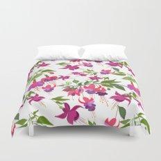 April blooms IV - Fuchsia White Duvet Cover