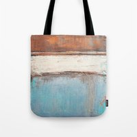 Copper and Blue Abstract Tote Bag