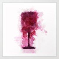 Wine Glass Watercolor Art Print