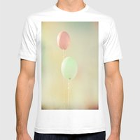 Balloons in Tie-Dyed Sky Mens Fitted Tee White SMALL