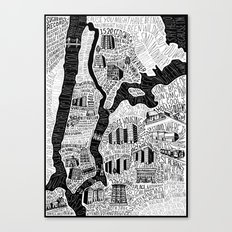 Hip-Hop Map of New York Canvas Print