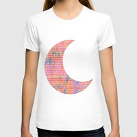 Tribal Moon Womens Fitted Tee White SMALL