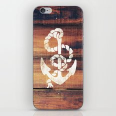 Vintage Nautical Anchor White on Brown Wood Grain iPhone & iPod Skin