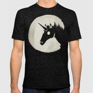 The Unicorn Moon Mens Fitted Tee Tri-Black SMALL