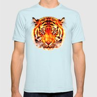 camouflage tiger on yellow  Mens Fitted Tee Light Blue SMALL