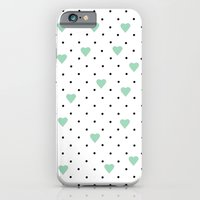 Pin Point Hearts Mint iPhone 6 Slim Case