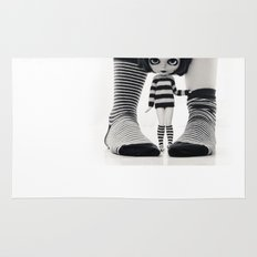 We love Socks in BW stripes Rug