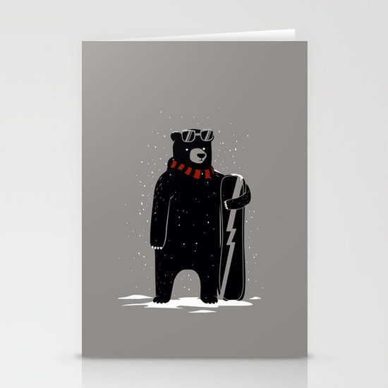 Bear on snowboard Stationery Card