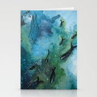 Fish In A Row Stationery Cards