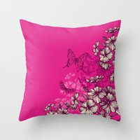 Vintage butterfly wallpaper- magenta Throw Pillow