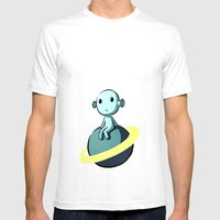 Space Alien Mens Fitted Tee White SMALL
