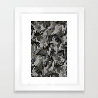 Modern Woodgrain Camouflage / Winter Birch Woodland Print Framed Art Print