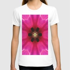 Pink Flower Abstract Womens Fitted Tee White SMALL