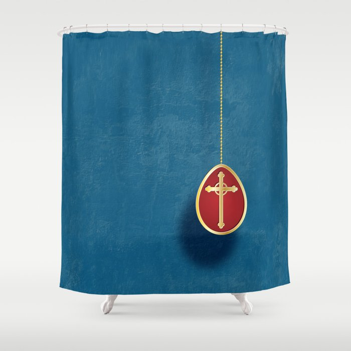 Gold And Red Egg On Blue Shower Curtain By Wendy Townrow