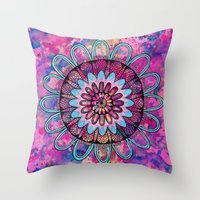 Metallic Sunset Mandala Throw Pillow