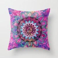 Metallic Sunset Mandala Throw Pillow