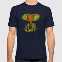 Elephant With Tiny Bird Mens Fitted Tee Navy SMALL