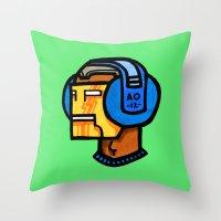 headfone Throw Pillow