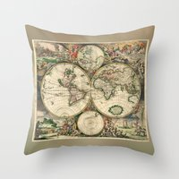 Old Map Of World Hemisph… Throw Pillow
