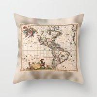 1658 Visscher Map Of Nor… Throw Pillow