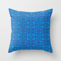 Blue Green Layers Throw Pillow