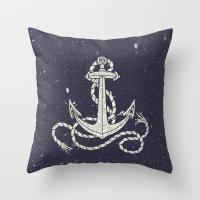 Navy Blue Nautical White Anchor for Sailor Texture Throw Pillow