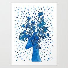 Flowery Fawn Art Print