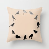 BIRD CLOCK Throw Pillow