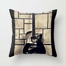 Be Your Song and Rock On in Black Throw Pillow