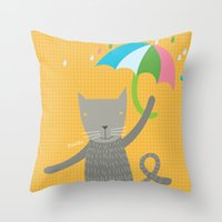 a cat is always prepared for the rain Throw Pillow