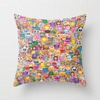 emoji / emoticons Throw Pillow