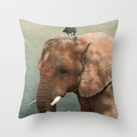 Brotherly- Elephant And … Throw Pillow