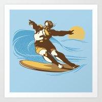 God Surfed Art Print